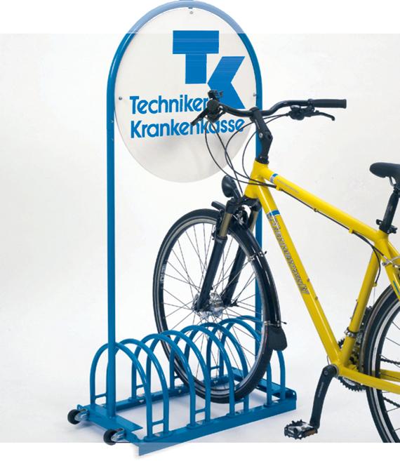 fahrradst nder rund mit werbeschild werbe fahrradst nder von. Black Bedroom Furniture Sets. Home Design Ideas